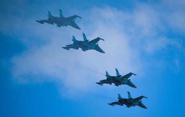 Các máy bay quân sự tham gia tập trận. (Ảnh: TASS)