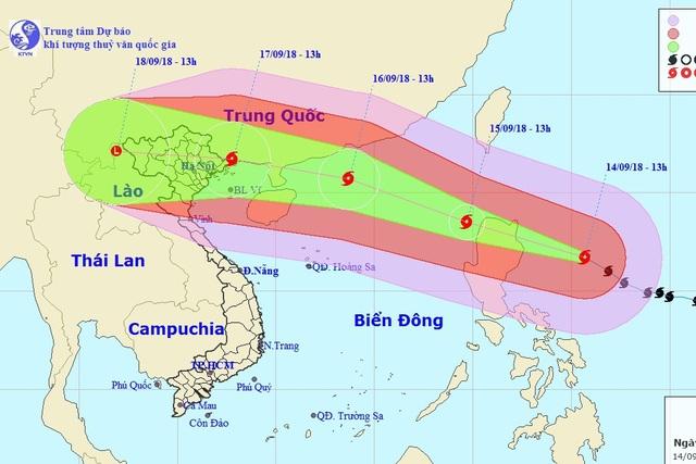Vị trí và hướng di chuyển của siêu bão Mangkhut. (Ảnh: NCHMF).