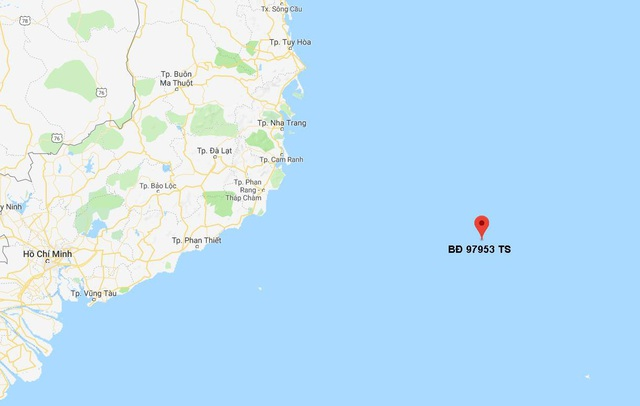 Vị trí tàu bị mắc kẹt trên biển