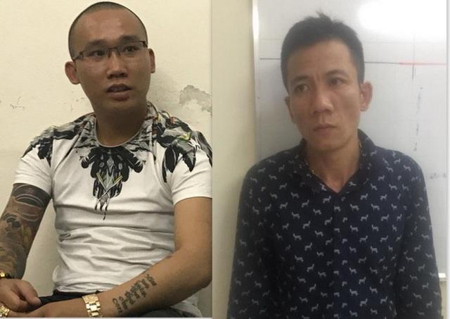 2 đối tượng cầm đầu hai nhóm vay nóng ở Sài Gòn vừa bị công an quận Tân Phú xoá sổ là Trần Đình Cường (áo trắng) và Nguyễn Khắc Đức