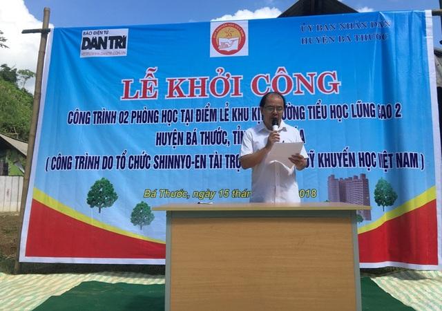 Ông Lò Văn Thắng, Phó chủ tịch UBND huyện Bá Thước phát biểu tại buổi lễ