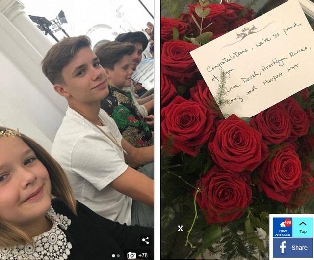 Gia đình Beckham chúc mừng thành công cho show diễn của Victoria Beckham