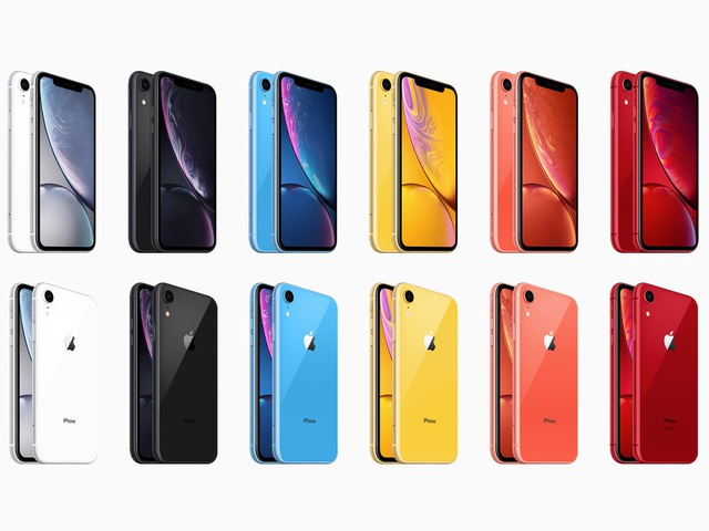 iPhone XR có tới gấp đôi tùy chọn về màu sắc so với 2 mẫu iPhone còn lại.