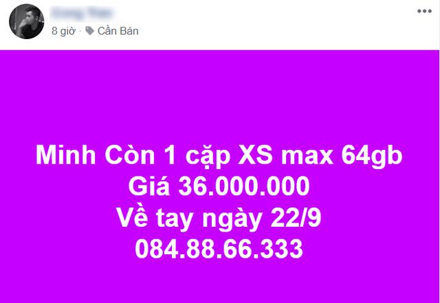 iPhone XS xách tay được chào bán trên mạng xã hội Facebook.