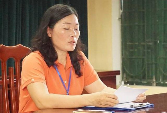 Bà Kim Oanh, Hiệu trưởng Trường tiểu học Sơn Đồng cho rằng trường chưa thu tiền và từ chối đối thoại với phụ huynh học sinh.