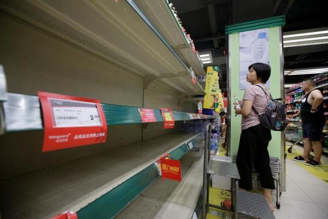 Các gian hàng thực phẩm cháy hàng khi người dân địa phương lo tích trữ mùa bão. (Ảnh: Reuters)