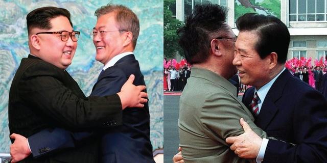 Các nhà lãnh đạo Hàn Quốc và Triều Tiên ôm nhau trong các cuộc gặp vào năm 2018 (trái) và 2000 (phải) (Ảnh: BI)