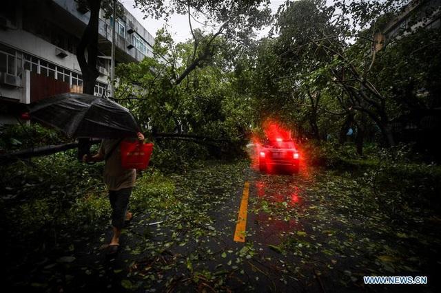 Bão Mangkhut đã khiến nhiều tuyến đường tại Quảng Đông bị ngập lụt, ảnh hưởng nghiêm trọng tới hoạt động giao thông của người dân. (Ảnh: Xinhua)