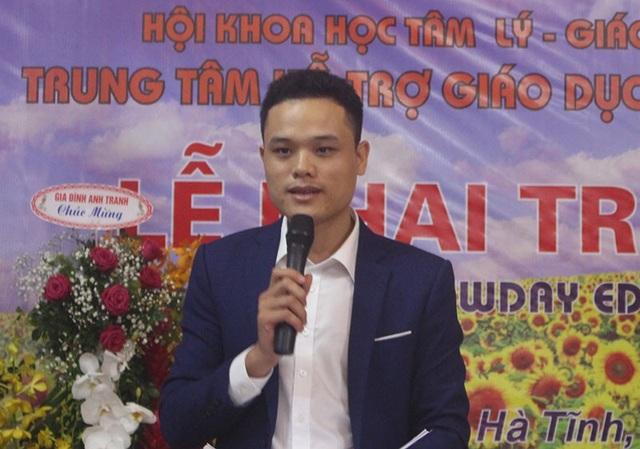 Anh Hoàng Văn Quyết - người thành lập Trung tâm Hỗ trợ Giáo dục Trẻ em Ngày Mới.