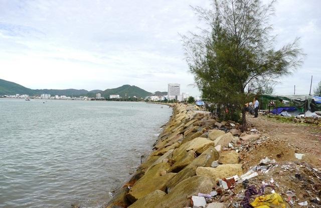 Việc đổ đất, đá lấn biển không những làm mất vẻ đẹp tự nhiên của biển Quy Nhơn...