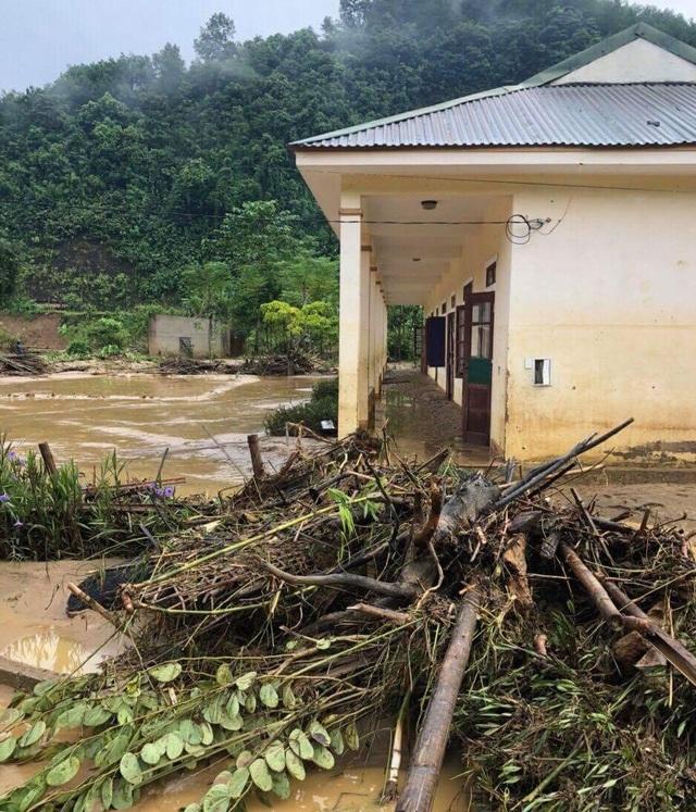 Cây cối lũ quét cuốn vào trường học.