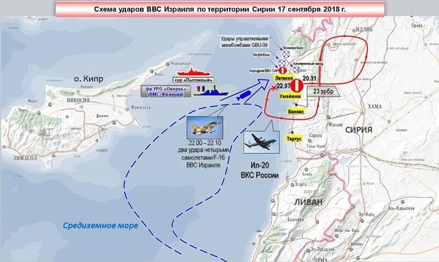 Bản đồ miêu tả quá trình Il-20 bị bắn rơi hôm 17/9 do Nga công bố. (Ảnh: RT)