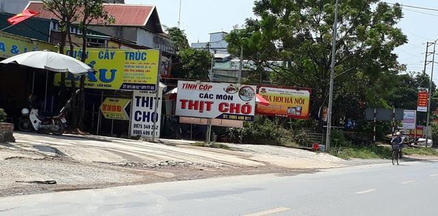 Các quán kinh doanh thịt chó bên Quốc lộ 6 (Hà Đông, Hà Nội). Ảnh: Ngọc Trang