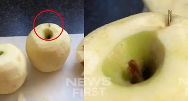 Cây kim được tìm thấy bên trong quả táo. Ảnh: 7 News