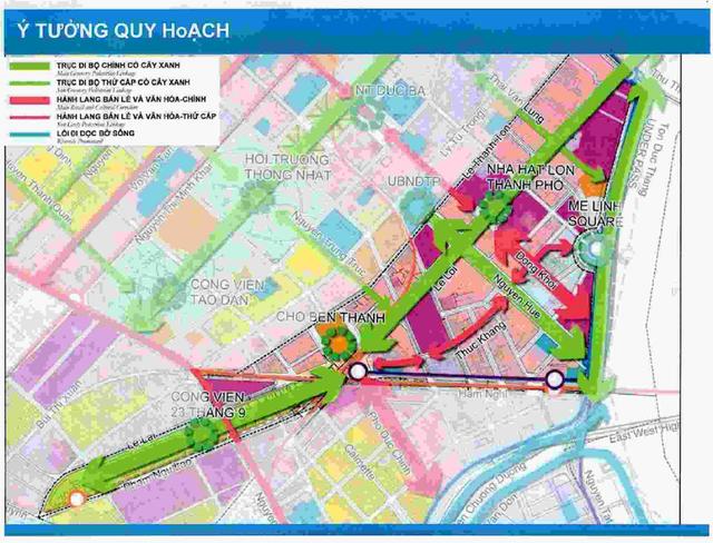 Ý tưởng quy hoạch trục đi bộ có cây xanh ở khu lõi trung tâm TPHCM của Sở Quy hoạch - Kiến trúc