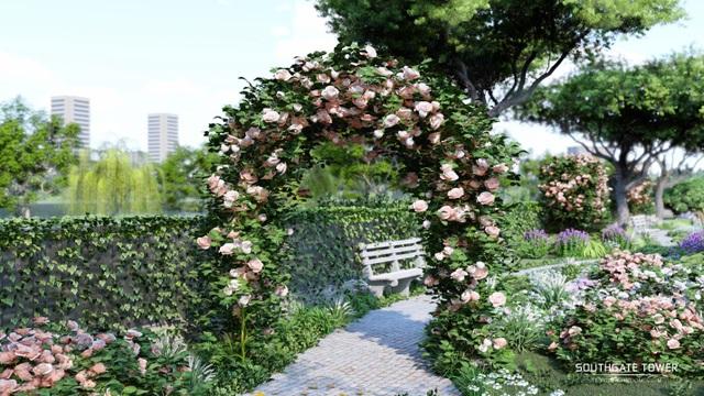 Những con đường ngập lối cây xanh và hoa hồng Pháp tại Southgate Tower