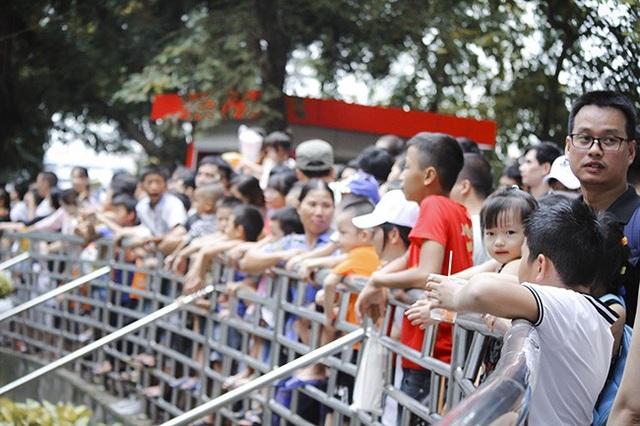 Cảnh tượng đông đúc, chen nhau trong các khu vui chơi trong dịp nghỉ lễ dài ngày là điều dễ hiểu. Trong ảnh: Trẻ nhỏ và phụ huynh leo rào đứng xem các con thú trong công viên Thủ Lệ.