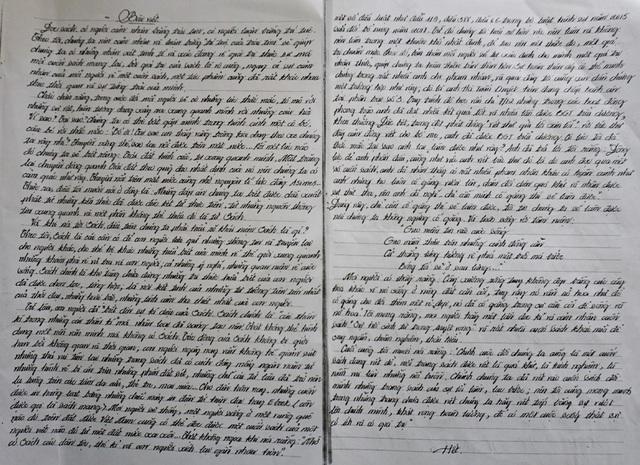 Bài viết với hàng chữ nắn nót của nam phạm nhân đang gánh bản án 17 năm tù về tội ma túy