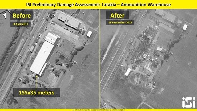Ảnh vệ tinh trước và sau khi Israel tấn công kho đạn của Syria ở Latakia đêm 17/9. (Ảnh: ISI)