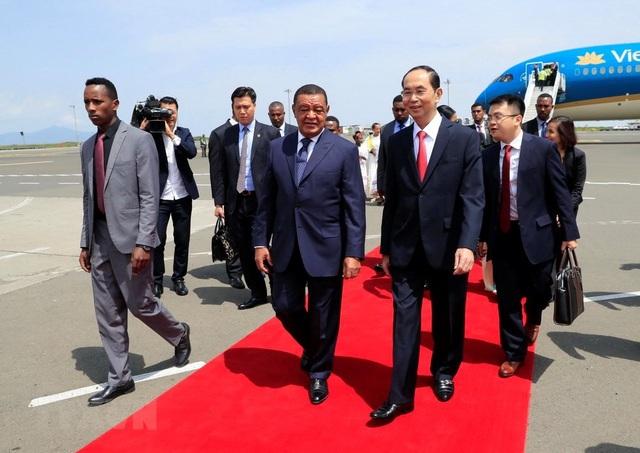 Ngày 23/8/2018, Chủ tịch nước Trần Đại Quang thăm cấp Nhà nước đến Ethiopia, theo lời mời của Tổng thống Ethiopia Mulatu Teshome (ảnh: TTXVN)