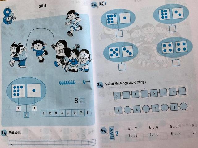 Cuốn sách Toán lớp 1 yêu cầu học sinh điền số thích hợp vào ô trống