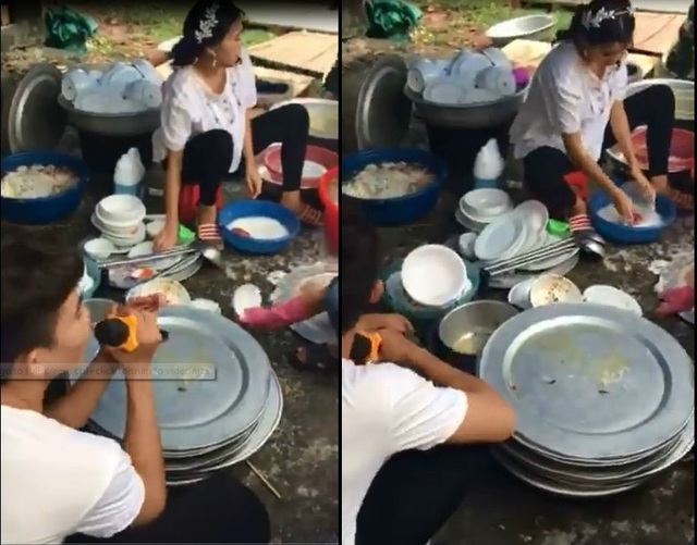 Chồng trẻ gây tranh cãi vì cầm micro ngồi hát xem vợ rửa bát