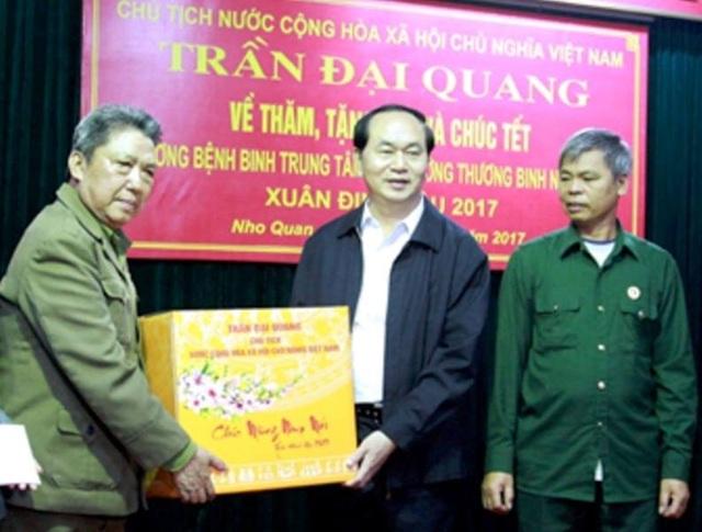 Tri ân những người có công với đất nước, ngày 10/1/2017, Chủ tịch nước Trần Đại Quang đã về Trung tâm điều dưỡng thương binh Nho Quan (huyện Nho Quan, Ninh Bình) thăm và tặng quà Tết Nguyên đán Đinh Dậu cho các cán bộ, thương binh, bệnh binh tại trung tâm.
