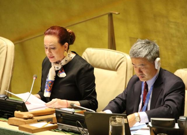 Chủ tịch ĐHĐ - bà Maria Fernanda Espinosa Garces gửi lời chia buồn sâu sắc tới gia đình Chủ tịch nước Trần Đại Quang, Chính phủ và nhân dân Việt Nam. Ảnh: Hoài Thanh - Phóng viên TTXVN tại Mỹ