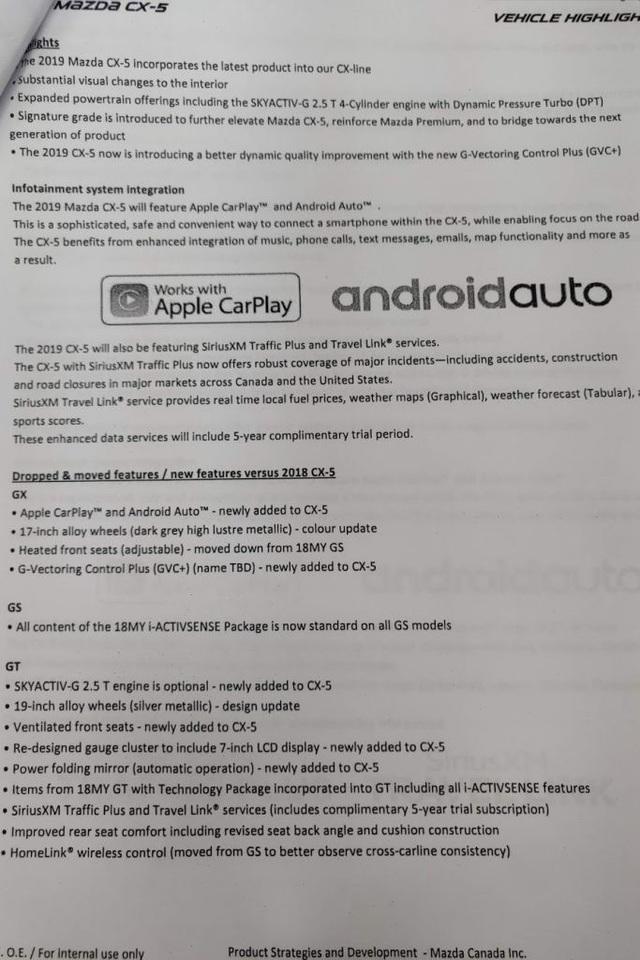 Bản in chứa thông tin về những thay đổi trên mẫu Mazda CX-5 phiên bản 2019