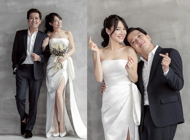 Bộ ảnh cưới của Trường Giang – Nhã Phương do NTK Chung Thanh Phong thực hiện với tông màu trắng chủ đạo và thực hiện trong không gian đơn giản, tao nhã.
