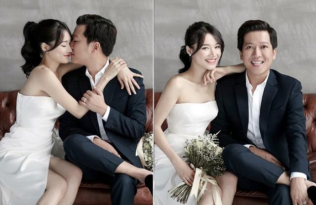 Cả hai thể hiện niềm hạnh phúc rạng ngời trong bộ ảnh cưới.