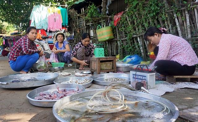 Một góc chợ quê ở An Giang. Chỉ 1 góc chợ quê thôi nhưng mùa nước nổi không thiếu sản vật, muốn ăn cá gì có cá đó.