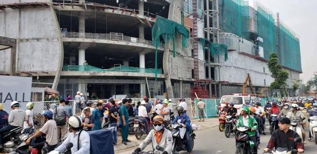 Hiện trường công trình dự án đại siêu thị, nơi 3 công nhân bị tai nạn.