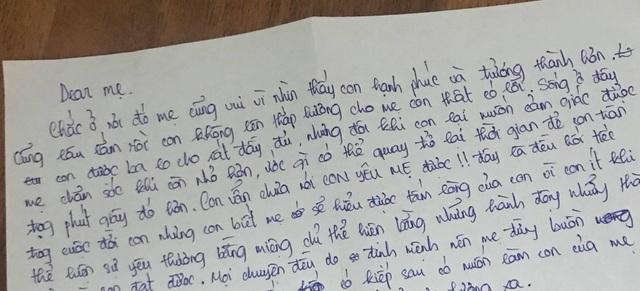 Lá thư học trò gửi người mẹ đã mất