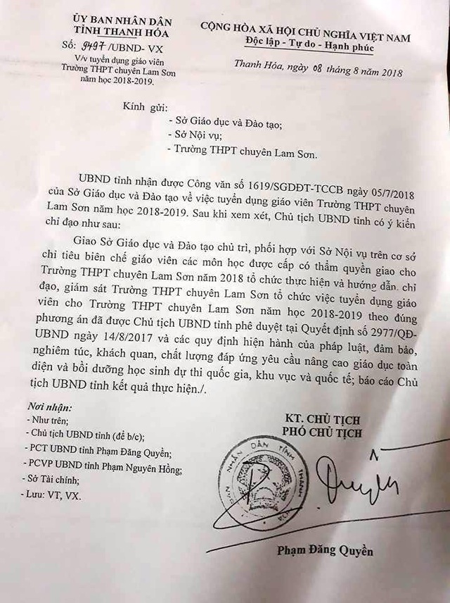 Sau khi xem xét các đề nghị, Phó Chủ tịch UBND tỉnh Thanh Hóa vẫn yêu cầu thực hiện theo Quyết định 2977.