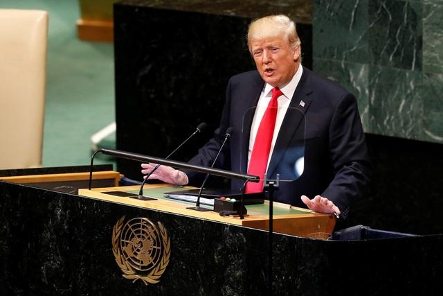 Tổng thống Trump có bài phát biểu khoảng 35 phút tại Đại hội đồng Liên Hợp Quốc. (Ảnh: Reuters)