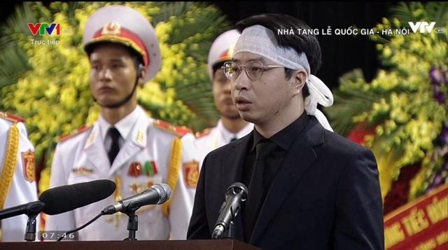 Trong lời đáp từ, ông Trần Quân - con trai Chủ tịch nước Trần Đại Quang bày tỏ lòng xúc động, biết ơn sâu sắc với việc cha được chăm sóc, cứu chữa tận tình, được tổ chức trang lễ chu đáo, trang trọng.