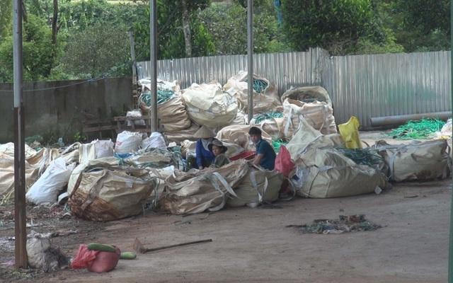 Khoảng 10 công nhân đang làm việc tại cơ sở tái chế nhựa này