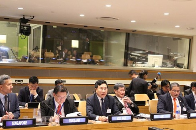 Phó Thủ tướng, Bộ trưởng Phạm Bình Minh dự họp tại New York (ảnh: VOV)