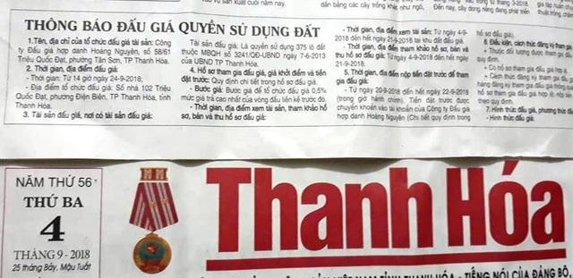 Nội dung thông tin đấu giá được đăng tải trên báo Thanh Hóa ngày 4/9 chưa đúng với quy định tại Quyết định về đấu giá QSDĐ của UBND tỉnh Thanh Hóa.