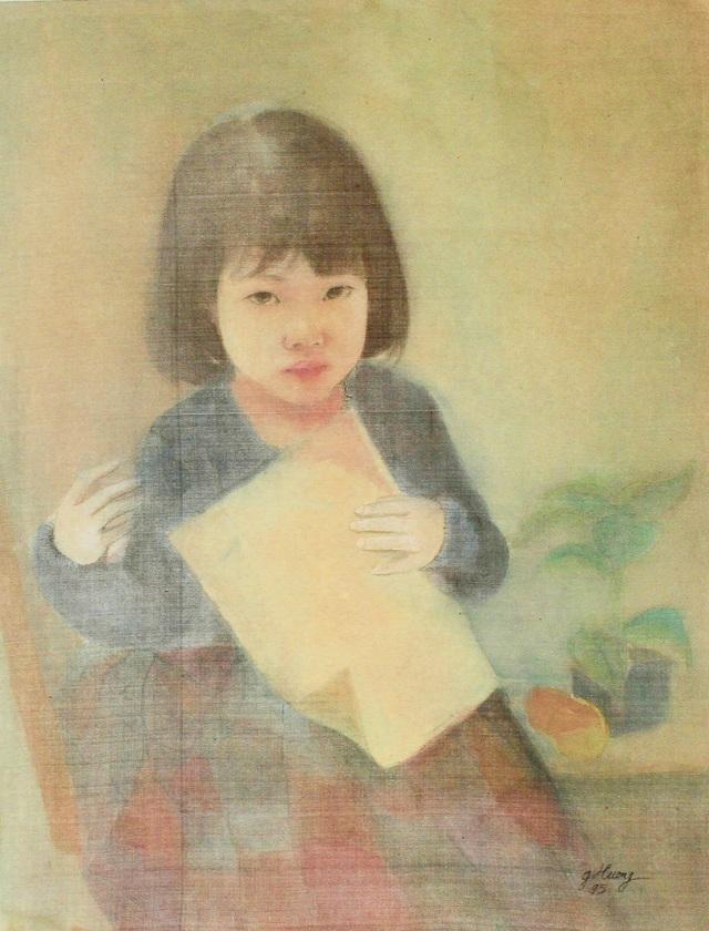 Cận cảnh bức tranh lụa giả mạo chữ ký cố họa sĩ Vũ Giáng Hương.