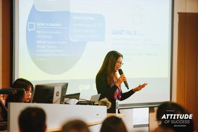Diễn giả Janet Hà Lê – Giám đốc tài chính của Seek Ltd – công ty tìm kiếm việc làm lớn nhất tại Úc