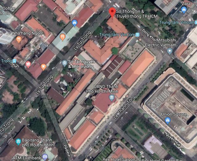 Dinh Thượng thơ nay là Sở Thông tin - Truyền thông TPHCM, nằm ở góc đường Lý Tự Trọng - Đồng Khởi (ảnh: Google maps)