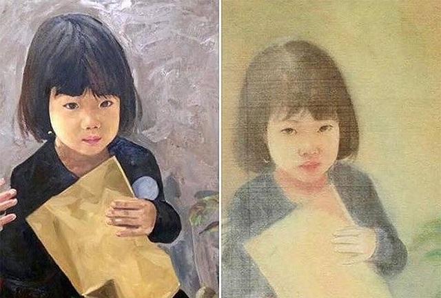 Bức tranh gốc (bên trái) do họa sĩ Nguyễn Văn Đông vẽ và bức tranh lụa (bên phải) giả mạo chữ ký cố họa sĩ Vũ Giáng Hương được đưa lên sàn đấu giá.