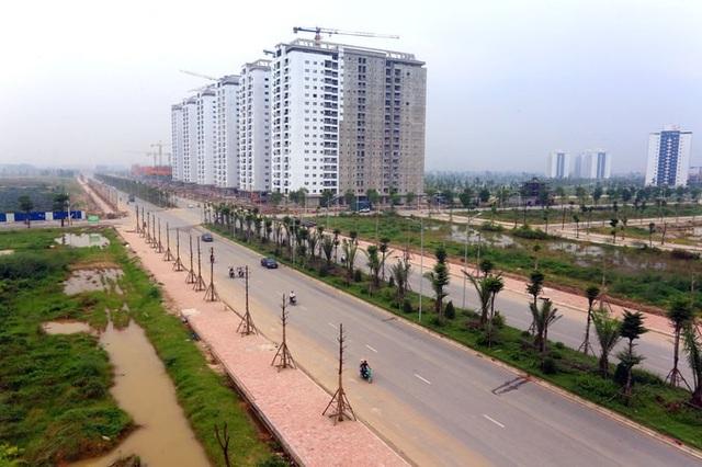 ( Tuyến đường trục kết nối khu đô thị Thanh Hà đã hoàn thành)