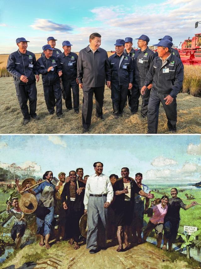 Ảnh trên: Chủ tịch Tập Cận Bình thị sát vùng Đông Bắc Trung Quốc - Ảnh dưới: Cố lãnh đạo Mao Trạch Đông thăm nông dân Trung Quốc. (Ảnh: Xinhua)