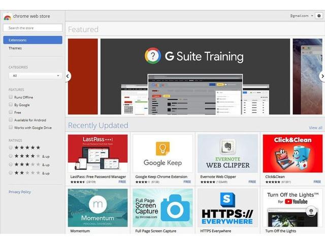 Giao diện Chrome Web Store với hàng loạt ứng dụng, tiện ích được cung cấp miễn phí.