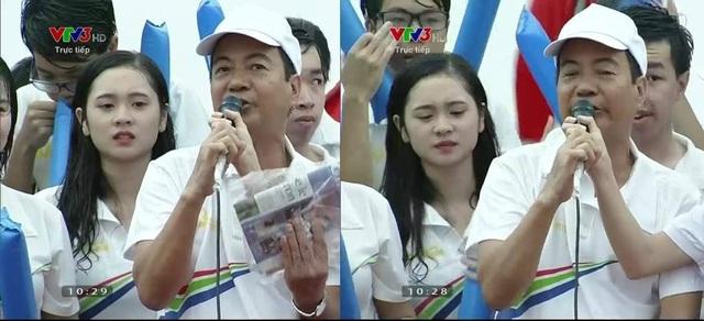 """Hình ảnh Huyền Trang trên sóng truyền hình trực tiếp tại điểm cầu Quảng Ninh gây """"bão"""" mạng"""