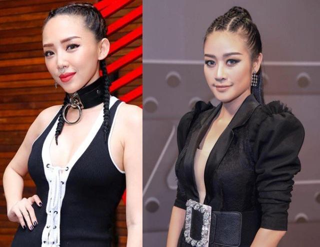 Có cơ hội hợp tác chung, Phí Linh (phải) và HLV Tóc Tiên (trái) trở nên thân thiết và có không ít lần bị nhầm lẫn với nhau vì sự hao hao về gương mặt, ngoại hình.