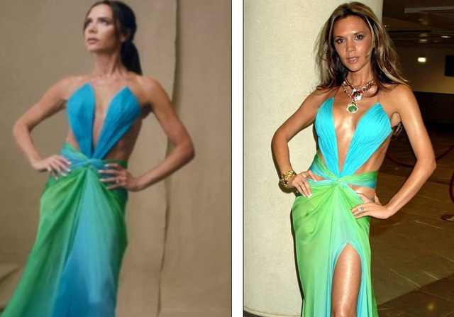 Vic diện lại bộ váy Robert Cavalli mà cô yêu thích và từng mặc vào năm 2005 (ảnh phải)